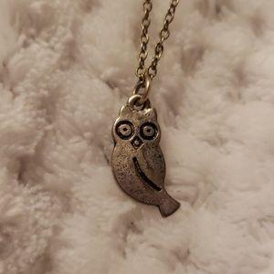 Tiny Owl Pendant Silver Tone